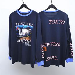 suéter mujer pájaro Rebajas Heron Preston Bird Print T shirt Hombres Mujeres Manga Larga O-cuello Hip Hop Camisetas Cartas Gráfico Camisa Casual Suéter HOH0308