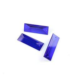 Tende scure online-Dark Sapphire 22 * 63mm 100PCS Due fori Crystal Triangle Chandelier Pendant Per la famiglia Tenda squisita accessori decorativi Best Seller