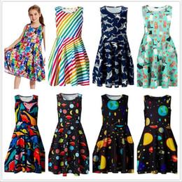 Bebek Kız Giysileri Elbiseler Çocuklar Yaz Rahat Elbise Çocuk Midi A-line Kolsuz Sundress Baskılı Butik Elbiseler Parti Bohemian Elbise C5735 nereden