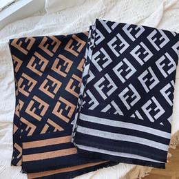 lenço listrado branco azul Desconto Moda novo cashmere dupla - face senhora lenço simples carta FF versátil atacado xale