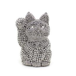 Bolso de gato negro online-Crystal Lucky Cat Bolso de noche de plata Bolsos de embrague Embragues Señora Bolso de boda Rhinestones Bolsos de boda Bolso de noche negro # 258757