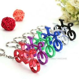 porte-clés vélo Promotion 200pcs aluminium bouteille en forme de vélo sport en alliage ouvre-porte-clés ouvre-bière vélo porte-clés couleurs mix clés cadeau de la chaîne