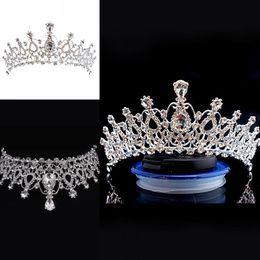 2019 corone di alto tiara Corona da sposa Cristalli economici ma di alta qualità Sparkle perline Corone di nozze roayal Velo di cristallo Fascia Accessori per capelli Partito corone di alto tiara economici