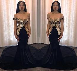 2019 Noir Avec Des Appliques D'or Sirène Robes De Bal Junior Doux 15 Parti Robes Élégant Hors Épaule Longue Robes De Soirée BC0986 ? partir de fabricateur