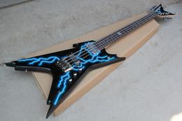 Guitares insolites en Ligne-Guitare électrique de forme inhabituelle noire avec 8 cordes, motif Lightning, matériel chromé, haute qualité, personnalisable