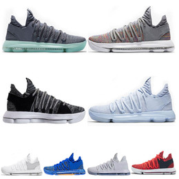 kd basketball sneakers Promo Codes - High Quality KD 10 Kevin Durant Men Basketball Shoes Oreo BHM White black Numbers Anniversary Stucco Igloo Multi Color 10 X Sports Sneaker