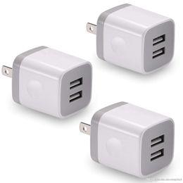 plug chargeur mural cube Promotion Chargeur mural USB, BEST4ONE Pack de 3 2.1A / 5V Dual Port USB Adaptateur secteur Cube de charge compatible avec iPhone X 8/7/6 Plus SE / 5S / 4S, iPad,