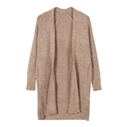long cardigan camel Promotion Automne Hiver Femmes Poches Tricotées Cardigans Office Lady Casual Chameau Long Point Ouvert Pull