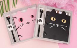 Bloco de notas do gato on-line-Caderno criativo dos desenhos animados do estudante Cat modelismo Gift Set Notepad Cat caneta esferográfica notebook set