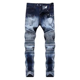 0def9c0c50e Мужские джинсы стрейч тонкие плиссированные брюки-карандаш карандаш  локомотив прямые темно-синий молотый белый джинсовые мужские брюки 2019  весна лето новый ...