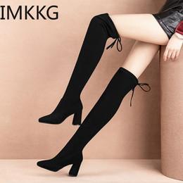 botas de rodilla de látex Rebajas Elástica Flock Slim Fit sobre la rodilla Botas Mujeres 2019 Winter muslo atan para arriba el señoras de la alta talón de tacón grueso largo del muslo botas altas