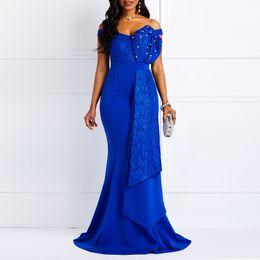 maxi vestido contas Desconto Mulheres Fora Do Ombro Vestido Longo Sexy Slash Pescoço Beads Magro Prom Evening Moda Plus Size Lace Elegante Partido Vestido Maxi