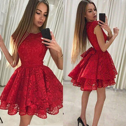 f5e10eea26a 2019 Red Short Prom Dresses A Line Jewel Neck Homecoming Cocktail Party  Evening Dresses Plus Size Lace Prom Evening Gowns DP0258