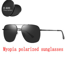 1b19646a22 Double beam Custom Made Myopia Minus Prescription Polarized Lens Sunglasses  Men Designer Vintage mirror Sun Glasses Goggles FML