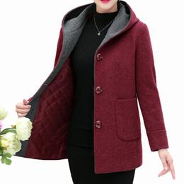 2019 cappotto di pisello con cappuccio Inverno donna Tweed cappotto incappucciato addensare trapuntato cappotto femminile rosso verde misto lana pisello cappotti Donne cappuccio caldo di lana della tuta sportiva cappotto di pisello con cappuccio economici