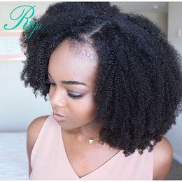 Perucas de cabelo humano afro curto on-line-Afro Crespo Encaracolado Brasileira cheia Peruca Dianteira Do Laço Com o Cabelo Do Bebê curto simulação de Cabelo Humano peruca sintética Com o Cabelo Do Bebê Nós Descorados