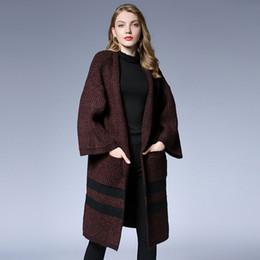 be72989c4e1 кофе цвет осень Скидка 2018 Мода женщины полосатый свитера длинные пальто  осень зима flare рукава женщины