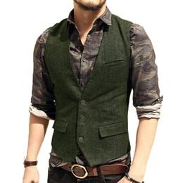 Vestito di affari verde di mens online-Mens Suit Vest V Neck Lana a spina di pesce Tweed Casual Gilet formale Business Vest Groomman per Green / Black / Brown