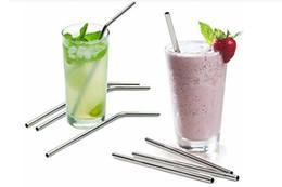Canada Plus la taille droite et plier la paille en acier inoxydable et brosse de nettoyage réutilisable outil de boire de la barre de paille à boire Serviette Offre