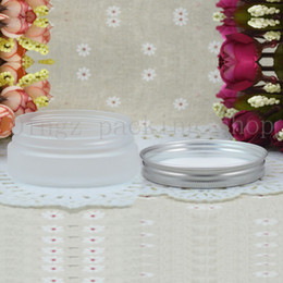 Unze leere plastikflaschen online-50g Frosted leere runde Kosmetikcreme PET-Gefäße, 1,75 oz klare Sahnebehälter für Kosmetikverpackungen, 50g leere Plastikflaschen