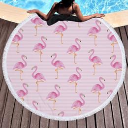 Couverture de pvc en Ligne-détail 5 couleurs couverture de bébé flamingo imprimé serviette de plage ronde microfibre plus gland lestée couverture serviettes de bain en plein air couverture rapide