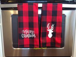 Toalhas de mão de natal on-line-50pcs / lot nova monograma chegada búfalo xadrez prato toalha de Natal decoração marcada chá toalha de cozinha toalha de mão artesanal