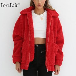 abrigos de peluche Rebajas Forefair Invierno de gran tamaño Faux Fur Coat  Mujeres Piel Natural Teddy 128cecea3bdc