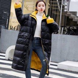 Weiße feder lange mäntel online-koreanische Art Winterfrauen schwarz beige Patchwork lose 90% weiße Ente Daunenmantel, weibliche Frauen lange Mäntel