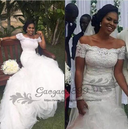 2019 lacet fashion nigeria Robes de mariée sirène Vintage Appliques 2019 africaine Nigeria Mode hors épaule en cascade volants à plusieurs niveaux robe de mariée robe de mariée promotion lacet fashion nigeria