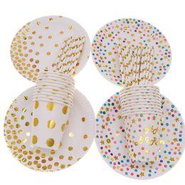 Vasos desechables coloridos online-10 unids / lote plato de paja taza vajilla desechable estampado en caliente decoración colorida para la boda suministros de cumpleaños