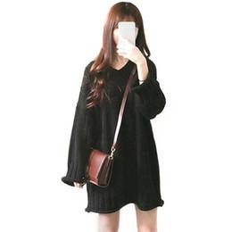 Loisirs version coréenne pull robe col en v solide couleur lâche sauvage pull à manches longues jupe courte pour les femmes vin rouge abricot ? partir de fabricateur