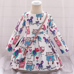 crianças menina inverno vestidos florais Desconto Vestido de Natal da menina floral Outono-Inverno Imprimir Criança Vestidos menina miúdos roupas vestido Crianças com saco 2019 de manga comprida