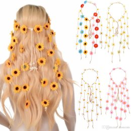 Canada Bandeau Fleur Indienne Accessoires Cheveux 2019 Festival Femmes Hippie Coiffe Réglable Bande De Cheveux De Tournesol supplier hippie accessories Offre