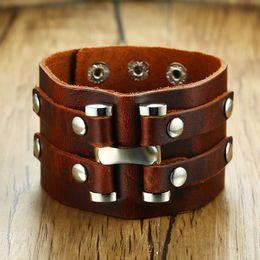 2019 jóias de couro Vnox 50mm Largura Chunky Charm Bracelet Para Homens Genuine Real Pulseira De Couro De Pulso Do Punk Legal Masculino Pulseira Rock Jóias jóias de couro barato