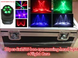 2019 caso de luz de cabeza móvil Flight Case + 10pcs 6x15w RGBW Beam Light 15W 6 Bee Eye Moving Head Light Imported Lámpara Bead + Lens DMX512 Etapa Profesional Lighti rebajas caso de luz de cabeza móvil