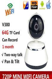 app sicherheit Rabatt V380 Telefon APP HD 720 P Mini IP Kamera Wifi Kamera Drahtlose P2P Überwachungskamera Nachtsicht IR Roboter Baby Monitor Unterstützung 64G mit box