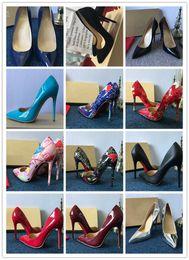 sapatos chunky calcanhar nude Desconto Frete Grátis Assim Kate Estilos Plana 8 cm 10 cm 12 cm Sapatos de Salto Alto Vermelho Inferior Cor Nude Couro Genuíno Ponto Toe Bombas De Borracha Pode ser customi