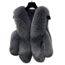 chaleco de la piel del zorro de las mujeres Rebajas Chaleco de piel sintética de invierno chaqueta de las mujeres 2018 capa gruesa caliente chaleco de piel sintética prendas de vestir exteriores para mujer abrigo de zorro hembra más el tamaño 3XL