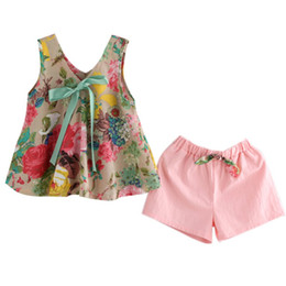 vests for party girls Coupons - Kids Girls Summer Beach Floral Printed Sleeveless Baby Vest Tops + Shorts Sets For Party Beach Clothes Outfit Suits