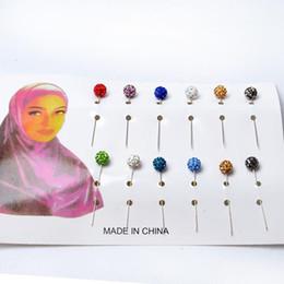 2019 épingles de châle en strass Vente en gros- HAOQINA strass musulman Hijab Pins islamique écharpe Sécurité épingles couleurs mélangées cristal disco boule châle aiguille 12 PCS Dot épingles de châle en strass pas cher