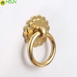 Schrank ring ziehen online-Neue Ankunft Chinese Classic Schubladengriffe Pull Türklopfer Ring Messing Hardware Cabinet Knob Griffe