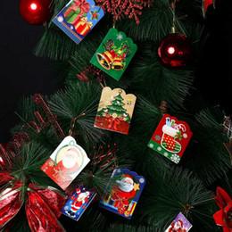 Cartões de papai noel on-line-12 Pcs Santa Claus Mini Mensagem Mensagem de Bênção De Papel Ofício Artesanal de Natal Árvore de Férias Pendurado Enfeites de Decoração Para Casa