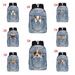 Sacos de escola dos gatos on-line-8 estilos gato cão mochila bolso animais de estimação dos desenhos animados impresso mochila saco de escola estudante adolescente organizador de armazenamento sacos de ombro FFA2815