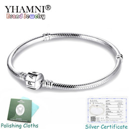 sterling slide bracelet Coupons - YHAMNI Fine 3mm Charm Chain Bracelet Fit Pandora Charms 925 Silver Original Bracelet DIY Jewelry Valentine's Day Gift PB005