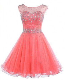2019 Lovely Homecoming Dresses For High School Beaded Crystal Organza Scoop Graduation Dresses Royal Blue Coral Short Prom Dress Party Gowns