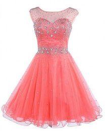 23c786ff4 2019 encantadores vestidos de fiesta para la escuela secundaria con cuentas  de cristal Organza Scoop vestidos de graduación Royal Blue Coral Short  vestido ...