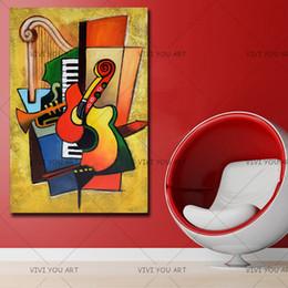 pintura a óleo instrumento Desconto Mão pura Famosa Alta Qualidade Dos Desenhos Animados Pintura A Óleo Instrumento Musical Pendurar Imagem para Casa Decoração Agradável Gifrs No Frame