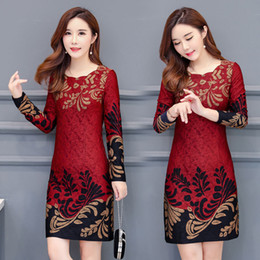 c05de8fc983 2019 women s spring and autumn outfit new slim mid-length long sleeves  retro bottoming dress