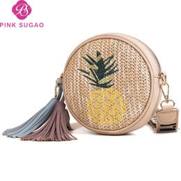 Bolsas de mensageiro de palha on-line-Rosa sugao designer bolsas crossbody bag mini ombro bolsa 2019 nova moda círculo messenger bag saco de palha artesanal atacado