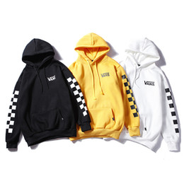 02e476c0b065 Discount loose arm sleeve - 2018 Male and female Cotton Arm string  checkerboard plaid hoodie Letter
